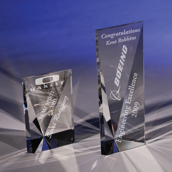 "Imprinted Attainment 8"" Crystal Award by CRYSTAL WORLD"