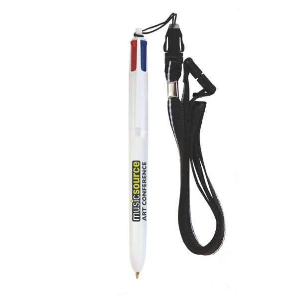 Imprinted BIC (R) 4-Color (TM) Pen with Lanyard
