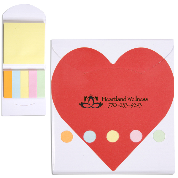 Printed Pocket Sticky Note Memo Book - Heart