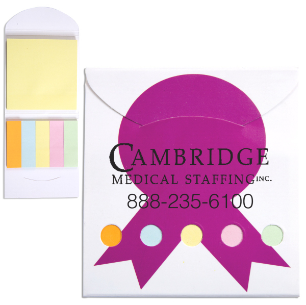 Personalized Pocket Sticky Note Memo Book - Pink Ribbon