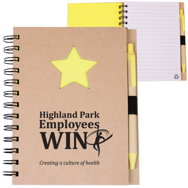 Imprinted EcoShapes (TM) Recycle Die Cut Notebook: Star