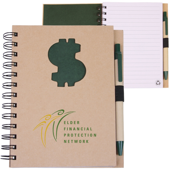 Imprinted EcoShapes (TM) Recycle Die Cut Notebook: Dollar Sign