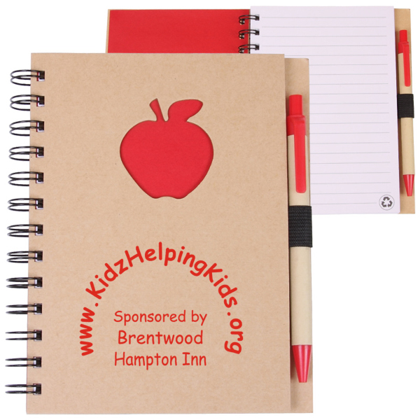 Custom EcoShapes (TM) Recycle Die Cut Notebook: Apple