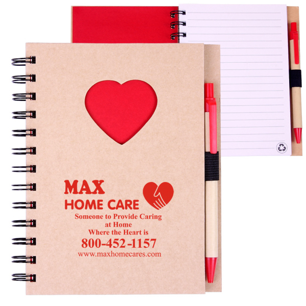 Imprinted EcoShapes (TM) Recycled Die Cut Notebook: Heart
