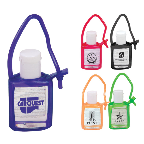 Customized Travel Size Gel Sanitizer in Tag-Along Bottle - 0.5 oz