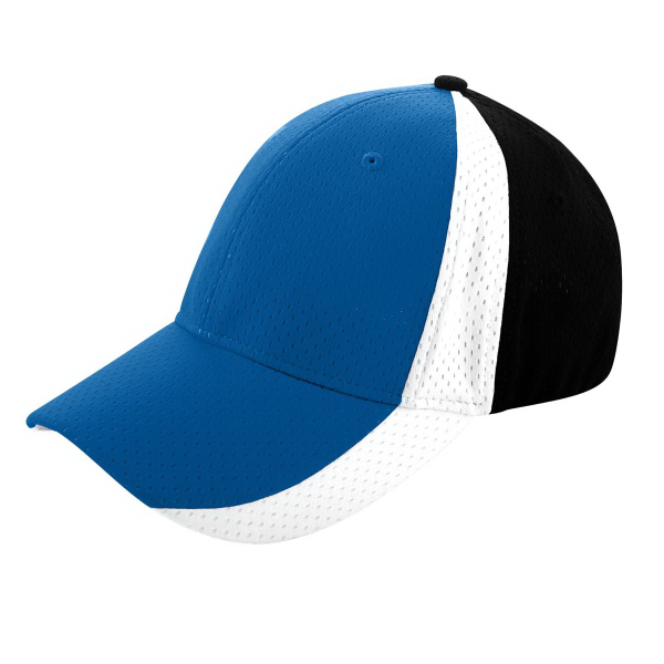 Imprinted Sport Flex Three-Color Athletic Mesh Cap