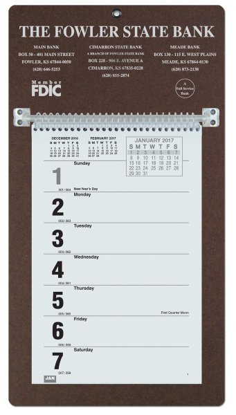 Promotional Foil Stamped Weekly Calendar