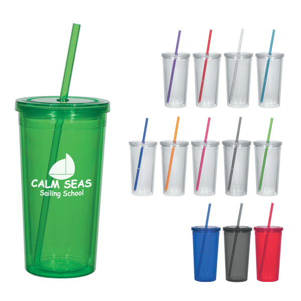 Customized 24 oz. Double Wall Acrylic Tumbler With Straw