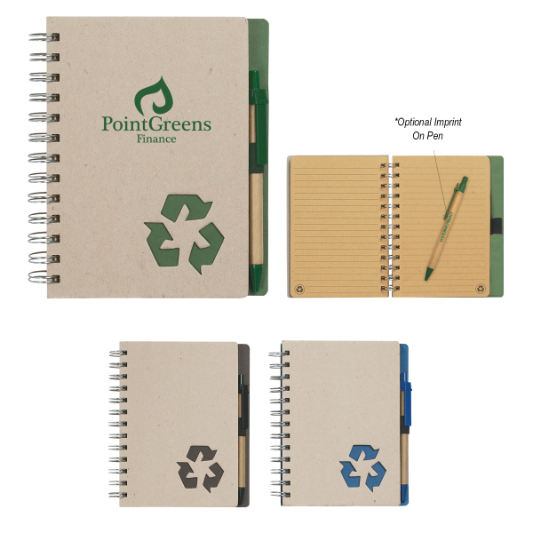 "Printed Eco-Rich 5"" x 7"" Spiral Notebook & Pen"