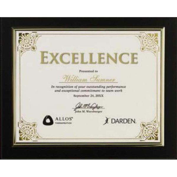 Customized Certificate holder black finish with gold trim