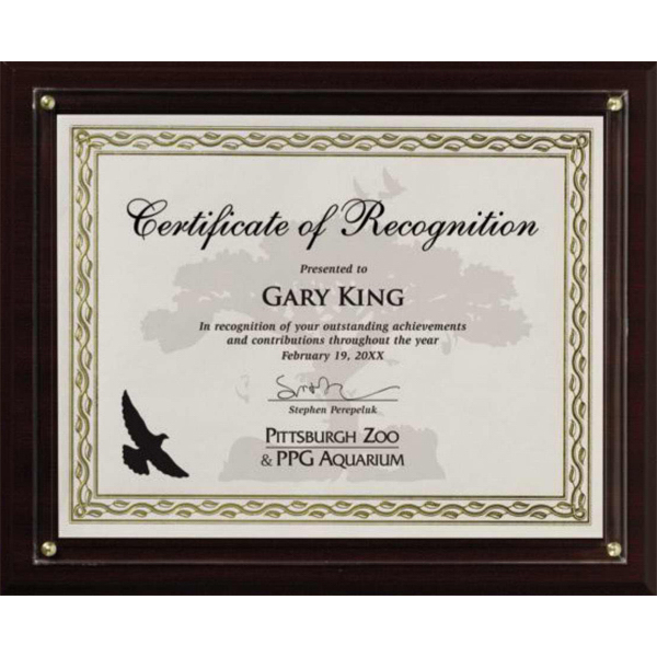 Personalized Certificate holder walnut finish slide-in