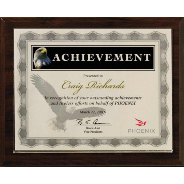 Printed Certificate holder walnut finish Split-in