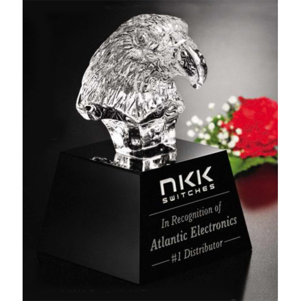 Printed Crystal Eagle Head on Black Base Award