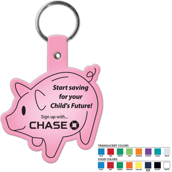 Printed Piggy Bank Flexible Key Tag
