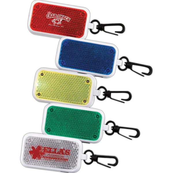 Printed Reflective Clip-On Flashing Safety Light (Imprinted)