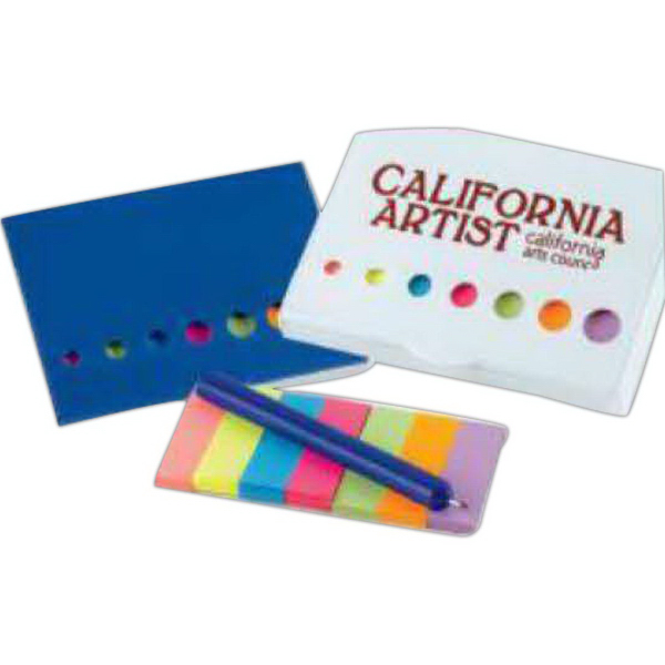 Promotional Clip-On Sticky Flags and Pen Set (Imprinted)
