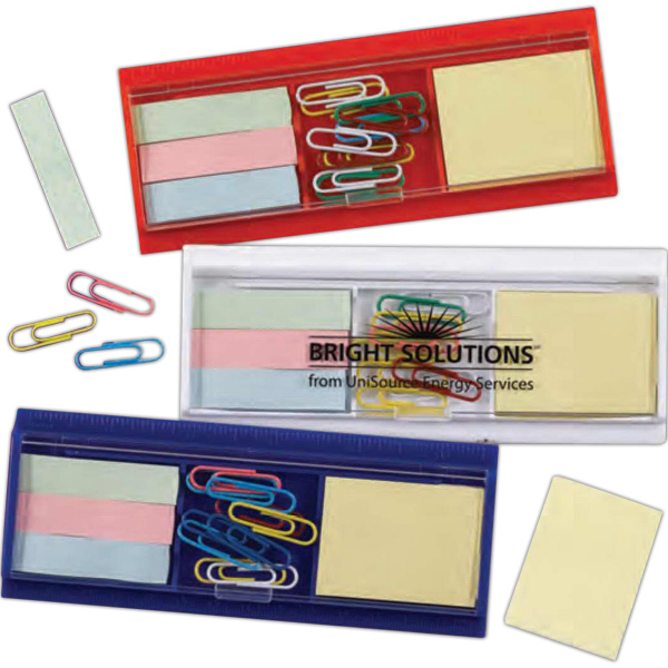 Printed Ruler, Paper Clips, Sticky Flag and Pad Set (Imprinted)