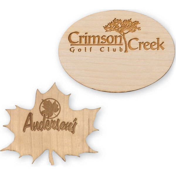 Imprinted Laser Engraved Wood Badge