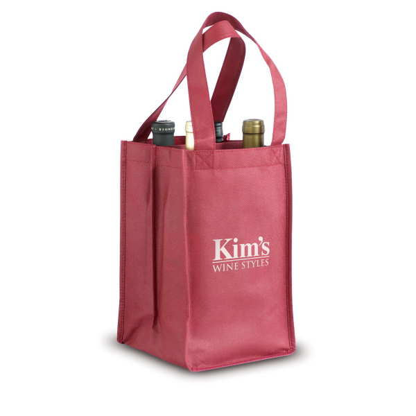 Personalized Non-Woven 4-Bottle Wine Tote
