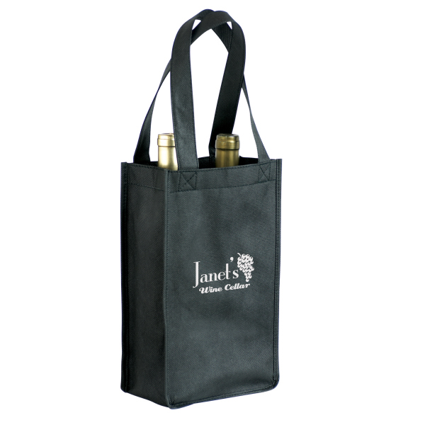 Customized Non-Woven 2-Bottle Wine Tote