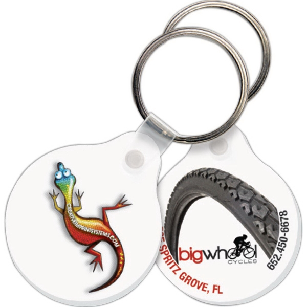 Imprinted Key Tag - Small Round w/Tab - Full Color