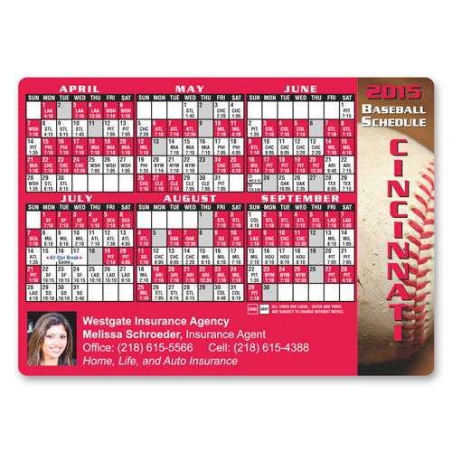 Custom Baseball sports schedule magnet
