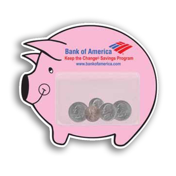Promotional Piggy Bank Magnet with Pocket