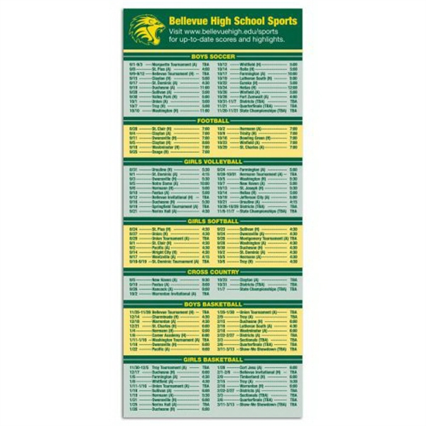 Promotional 3-1/2 x 8 Schedule Magnet