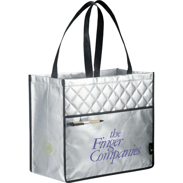 Custom laminated non woven quilted carry all tote usimprints for Custom laminations
