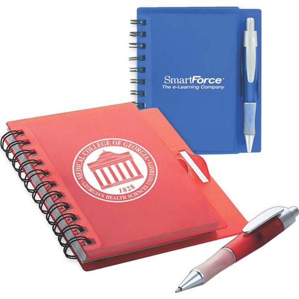 Imprinted Spiral notebook with pen