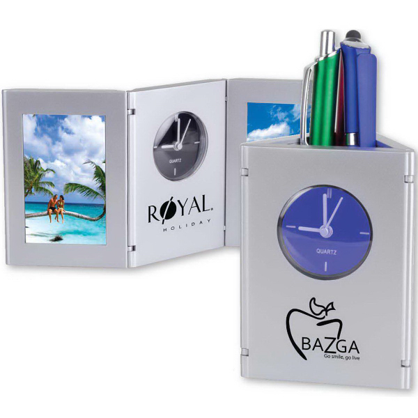 Promotional Time and Picture Clock/Pen Cup