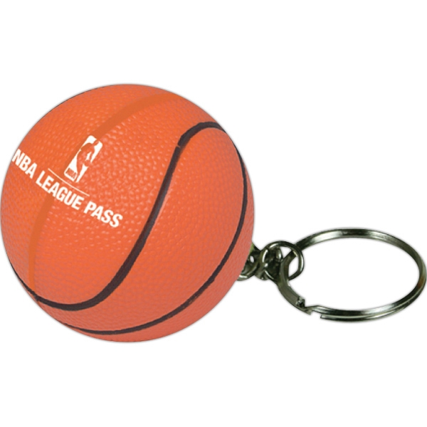 Promotional Squeezies (R) basketball keyring stress reliever