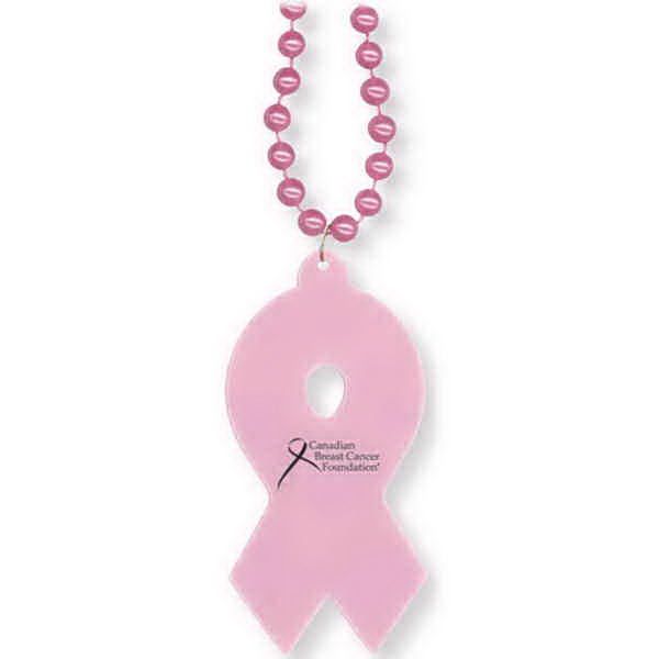 Printed Pink Ribbon Awareness Necklace
