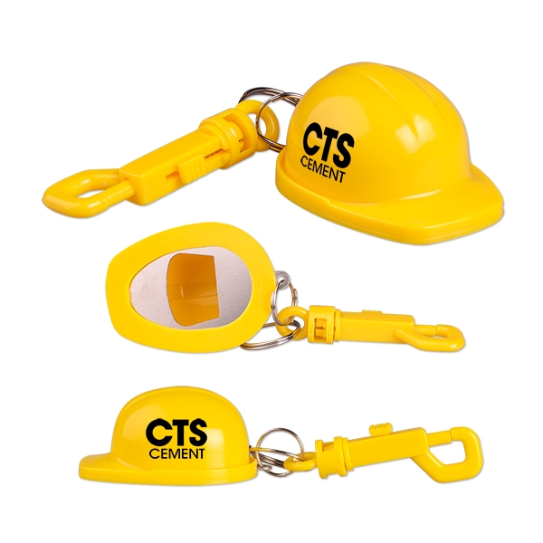 Imprinted Construction hat bottle opener with belt clip