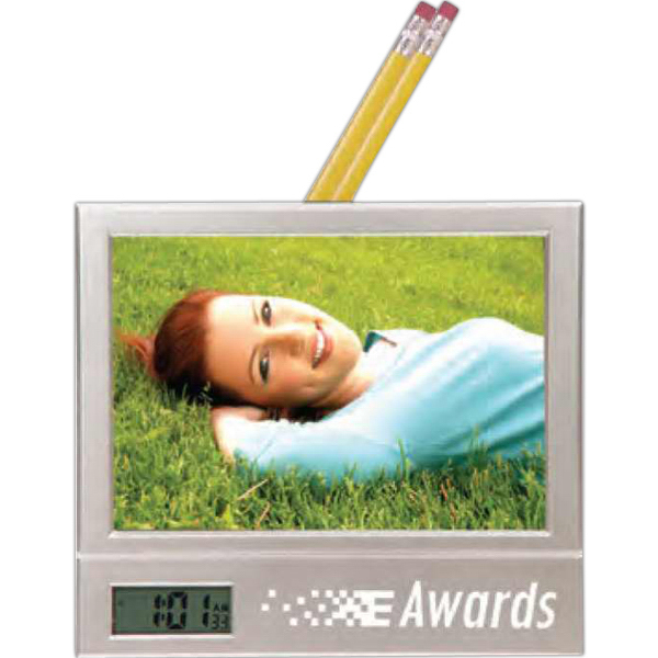 Custom Frame with LCD clock and pencil holder