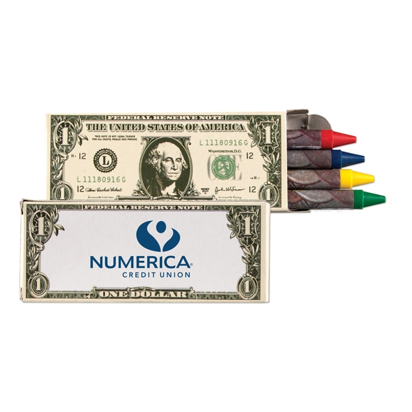 Imprinted 4 pack of Money crayons
