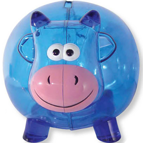 Imprinted Translucent Blue Cow Shaped Bank