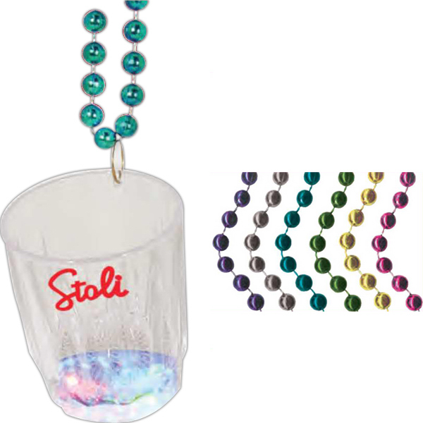 Imprinted Light up Flashing Shot Glass Bead Necklace