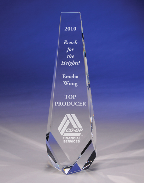 "Promotional A ""Progress"" Crystal Award by CRYSTAL WORLD"