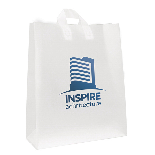 Imprinted Soft Loop Frosted Shopper 1-Color Hot Stamp Foil