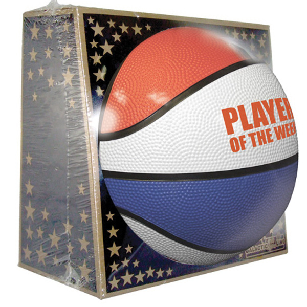 Imprinted Full Size Rubber Basketball - Red, White, Blue