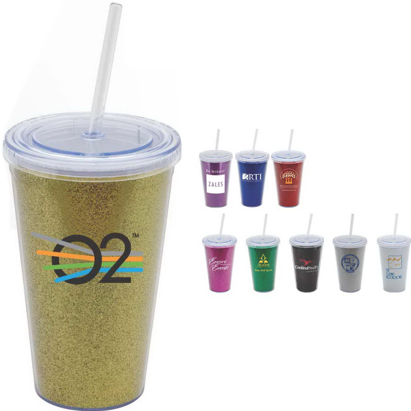 Promotional Luxe (TM) Glittery 16 oz Double-Wall Acrylic Tumbler