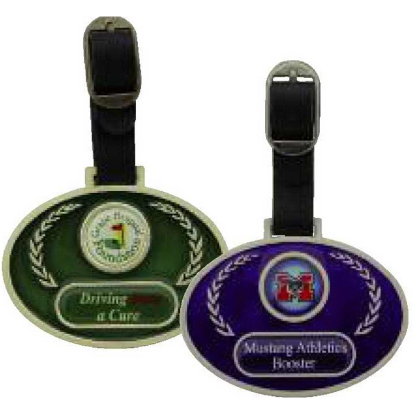 Promotional Oval Stain Glass Bag Tag