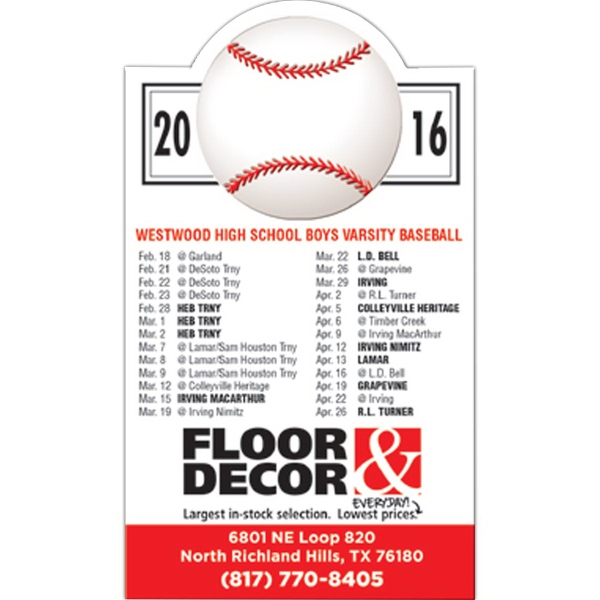 Customized Magnet 20 Mil - Baseball Schedule - Full Color
