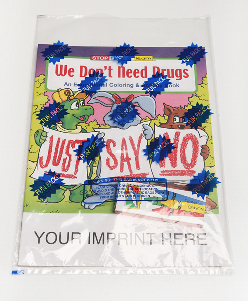 Customized We Don't Need Drugs Coloring and Activity Book Fun Pack