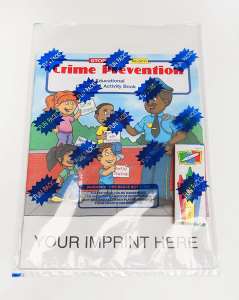 Imprinted Crime Prevention Coloring and Activity Book Fun Pack