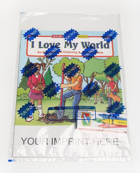 Imprinted I Love My World Coloring and Activity Book Fun Pack