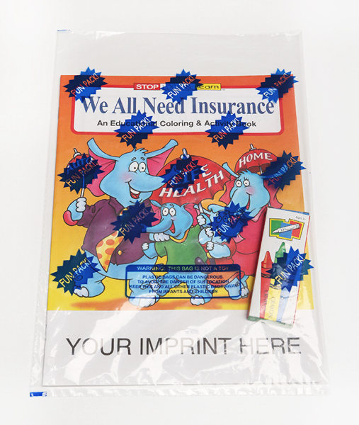 Imprinted We All Need Insurance Coloring and Activity Book Fun Pack