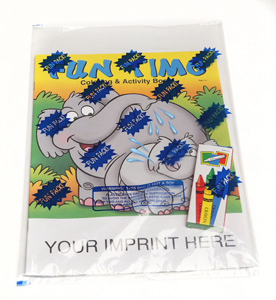 Imprinted Fun Time Coloring and Activity Book Fun Pack