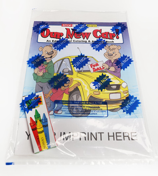 Custom Our New Car Coloring and Activity Book Fun Pack